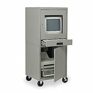"24-1/2"" x 22-1/2"" x 59-1/2"" Steel Mobile Computer Cabinet, Light Gray"