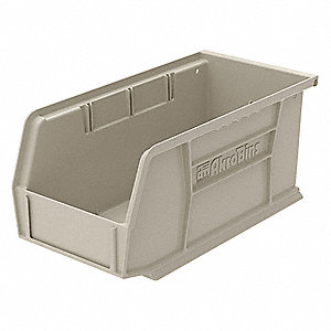 "Hang and Stack Bin, Stone, 10-7/8"" Outside Length, 5-1/2"" Outside Width, 5"" Outside Height"
