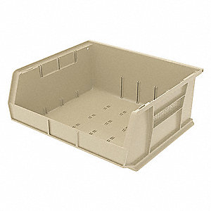 "Hang and Stack Bin, Stone, 14-3/4"" Outside Length, 16-1/2"" Outside Width, 7"" Outside Height"