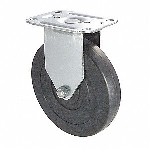 Rigid Plate Caster,Rubber,4 in.,115 lb,D