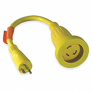 Locking Cord Adapter, Number of Outlets: 1, NEMA Plug Configuration: 5-15, 30 Max. Amps