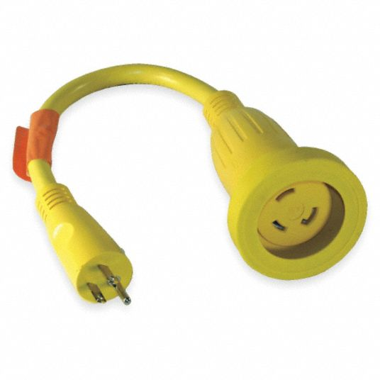 HUBBELL WIRING DEVICE-KELLEMS Locking Cord Adapter, Number of Outlets 1,  15.0 A, 120V AC, Plug Configuration NEMA 5-15P - 1UKB6|HBL61CM22 - GraingerGrainger