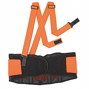 "Elastic Back Support with Stay M, 8"" Width Fits Waist Size 30"" to 34"", Hi-Visibility Orange"