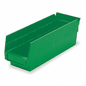 "Shelf Bin, Green, 4""H x 11-5/8""L x 4-1/8""W, 1EA"