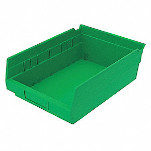 "Shelf Bin, Green, 4""H x 11-5/8""L x 8-3/8""W, 1EA"