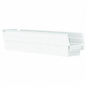"Shelf Bin, White, 4""H x 17-7/8""L x 4-1/8""W, 1EA"