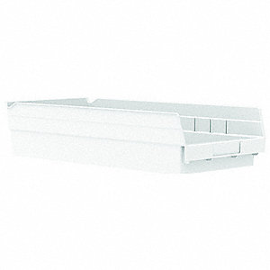 "Shelf Bin, White, 4""H x 17-7/8""L x 8-3/8""W, 1EA"