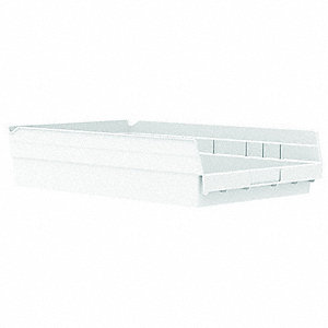 Shelf Bin,White,292 cu. in.Vol Capacity