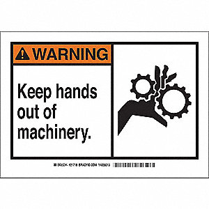 "Keep Hands Clear, Warning, Fiberglass, 10"" x 14"", With Mounting Holes, Not Retroreflective"