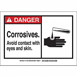 Danger Sign,3-1/2 x 5 In.,Polyester