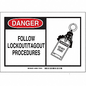 "Lockout Tagout, Danger, Aluminum, 7"" x 10"", With Mounting Holes, Not Retroreflective"