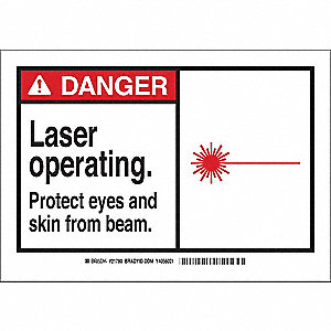 "Laser Hazard, Danger, Fiberglass, 7"" x 10"", With Mounting Holes, Not Retroreflective"