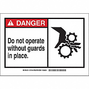 "Machine Guarding, Danger, Plastic, 7"" x 10"", With Mounting Holes, Not Retroreflective"