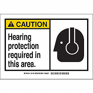 "Personal Protection, Caution, Fiberglass, 10"" x 14"", With Mounting Holes, Not Retroreflective"