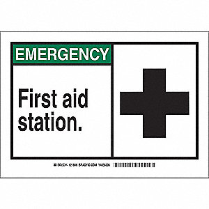 "First Aid, Emergency, Plastic, 7"" x 10"", With Mounting Holes, Not Retroreflective"