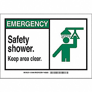 "Eyewash and Shower, Emergency, Plastic, 7"" x 10"", With Mounting Holes, Not Retroreflective"