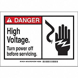 "Electrical Hazard, Danger, Fiberglass, 10"" x 14"", With Mounting Holes, Not Retroreflective"
