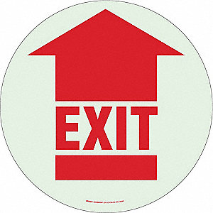 Exit Sign,17 x 17In,R/WHT,Exit,ENG,FL
