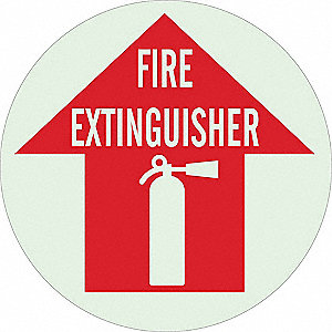 Fire Extinguisher Sign,17 x 17In,WHT/R