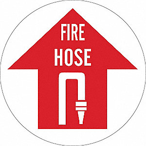 Fire Hose Sign,17 x 17In,WHT/R,FH,ENG
