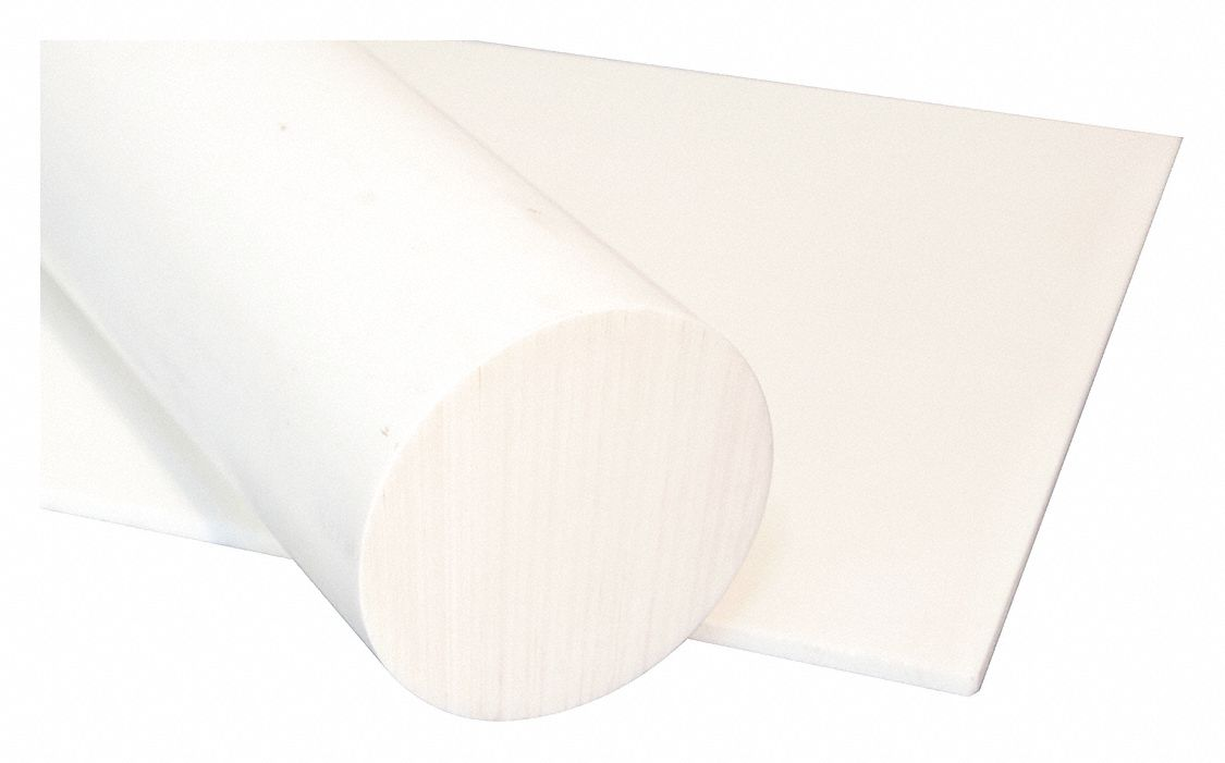 Rod, PET-P, White, 5/8 Dia x3 ft. L