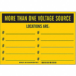 "Facility, More Than One Voltage Source, Vinyl, 7"" x 10"", Adhesive Surface, Not Retroreflective"