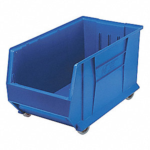 "Mobile Hopper Bin, Blue, 15""H x 29-7/8""L x 16-1/2""W, 1EA"