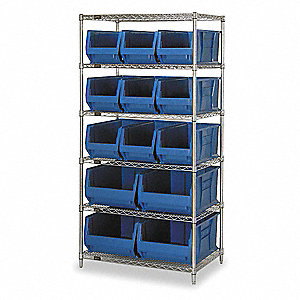 "36"" x 30"" x 74"" Bin Shelving with 5000 lb. Load Capacity, Blue"