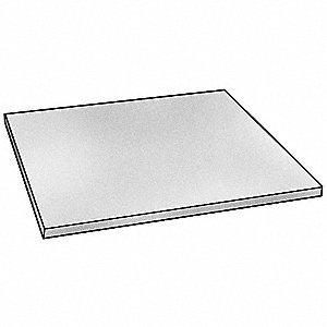 "Sheet Stock, UHMW, 24""L x 24""W x  1.000"" Thick, 180 Max. Temp. (F), White"