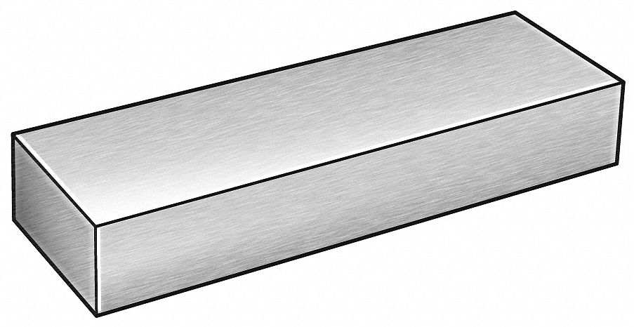 Blank Stock,  304,  Stainless Steel,  Thickness 1.0 in,  Width 2.0 in,  Length 12.0 in