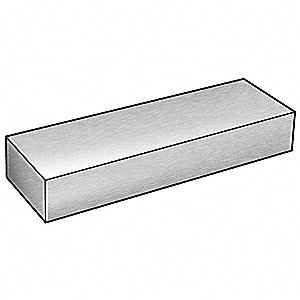 "Aluminum Flat Bar Stock, 0.375"" Thickness, 2"" x 72"" W x L, Alloy 6061"