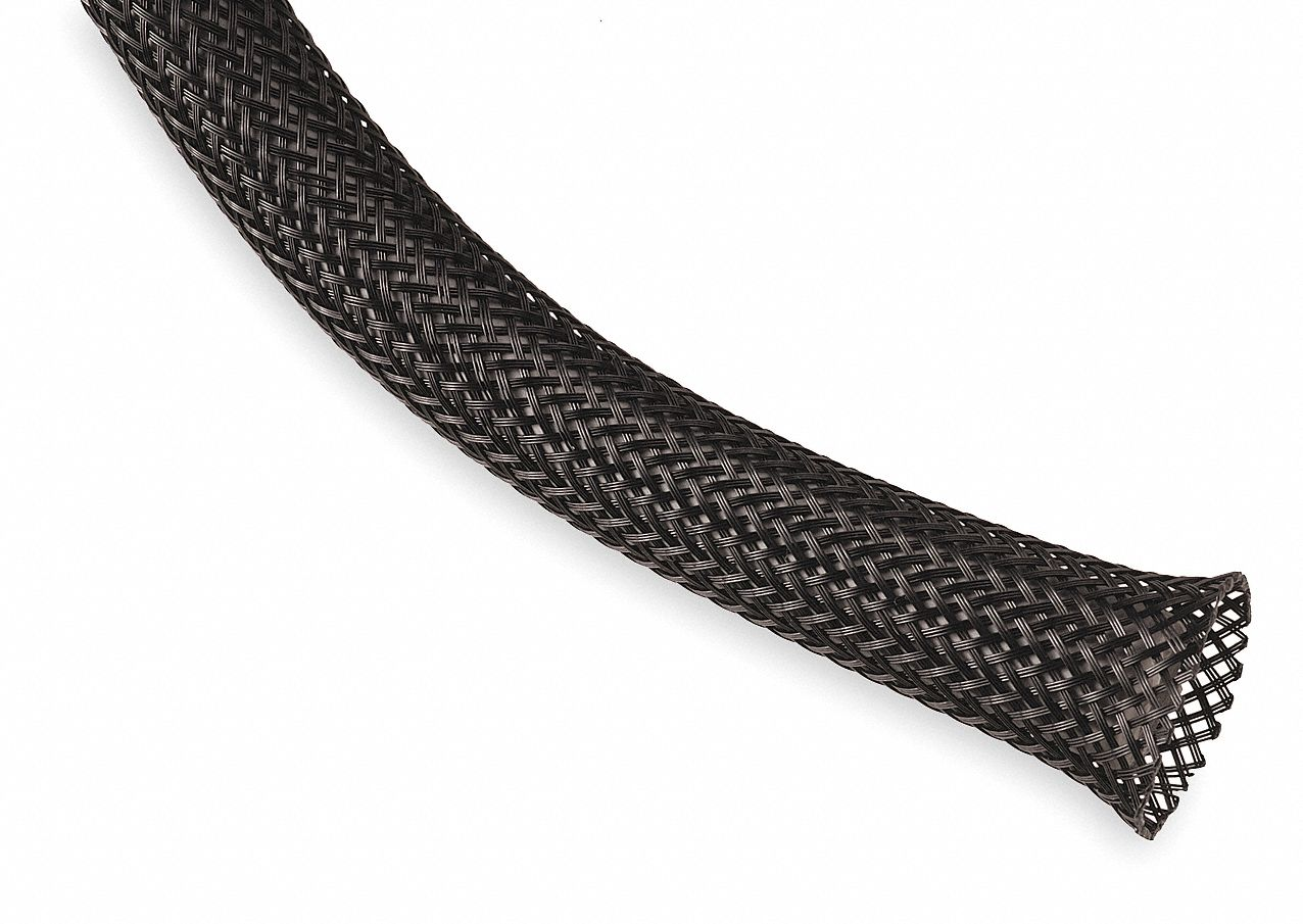 Expandable Braided Sleeving,  I.D.: 0.25 in, Length: 100 ft, Black