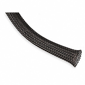 "Expandable Braided Sleeving,  I.D.: 0.375"", Length: 10 ft., Black"