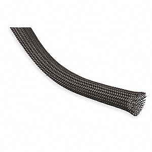 "Expandable Braided Sleeving, Inside Dia.: 1.000"", Length: 50 ft., Black"