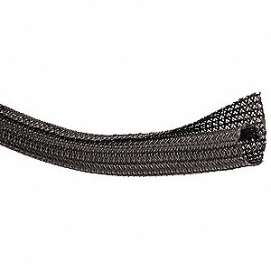 "Nonexpandable Braided Sleeving, Inside Dia.: 0.750"", Length: 100 ft., Black"