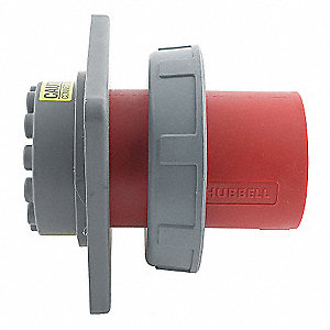 Red 3-Pole Watertight Pin and Sleeve Inlet, 60A, 480VAC