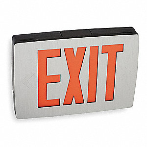 LED Exit Sign with Battery Backup, Black/Aluminum Housing Color, Cast Aluminum Housing Material