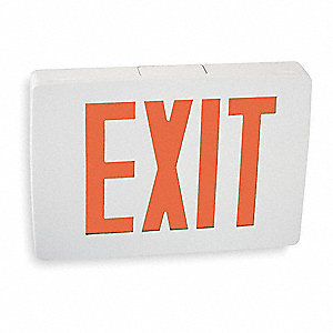 1 Face LED Exit Sign, White Aluminum Housing, Red Letter Color
