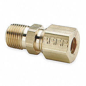 "Male Connector, 3/16"" Tube Size, 1/8"" Pipe Size - Pipe Fitting, Metal, 7/16"" Hex Size, PK 10"