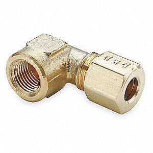 "Female Elbow, 90°, 3/16"" Tube Size, 1/8"" Pipe Size - Pipe Fitting, Metal, PK 10"