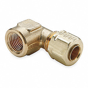 "Female Elbow, 1/4"" Tube Size, 1/4"" Pipe Size - Pipe Fitting, Metal, 1/2"" Hex Size"