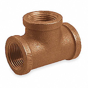 "Red Brass Tee, FNPT, 1-1/2"" Pipe Size,  1 EA"