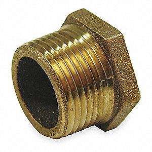 "Red Brass Hex Bushing, MNPT x FNPT, 1"" x 3/4"" Pipe Size,  1 EA"