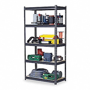 "Starter Boltless Shelving with Steel Decking, 5 Shelves, 48""W x 18""D x 84""H"