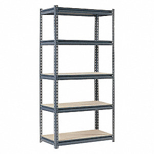 "36"" x 18"" x 72"" Steel Boltless Shelving Unit, Gray&#x3b; Number of Shelves: 5"