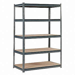 "48"" x 24"" x 72"" Steel Boltless Shelving Unit, Gray&#x3b; Number of Shelves: 5"