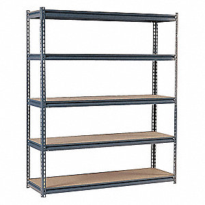 "Starter Boltless Shelving with Particle Board Decking, 5 Shelves, 72""W x 18""D x 72""H"