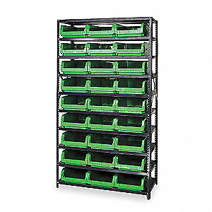 Bin Shelving,Solid,42X18,27 Bins,Green
