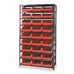 "42"" x 18"" x 75"" Bin Shelving with 4000 lb. Load Capacity, Red"