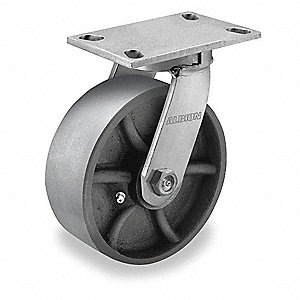 "8"" Heavy-Duty Kingpinless Swivel Plate Caster, 4100 lb. Load Rating"